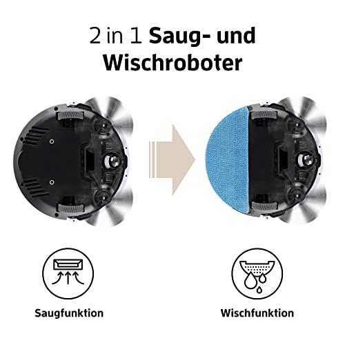 Saugroboter mit Wischfunktion  ILIFE V5s Pro automatischer Staubsauger Roboter / 2in1 nass Wischen oder Staubsaugen / Staub oder Wischsauger für Hartböden / benetzt bis zu 180qm / Fallschutz / beutellos / mit Ladestation - 2